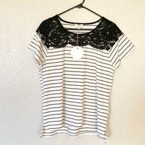 Umgee Striped Lace Detail T-shirt Black White L